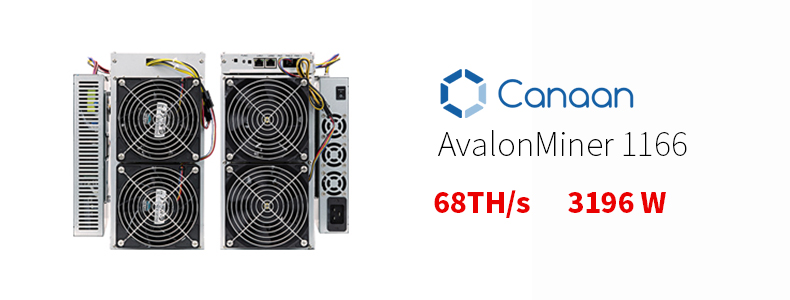 Canaan Avalonminer 1166 68Th bitcoin mining machine