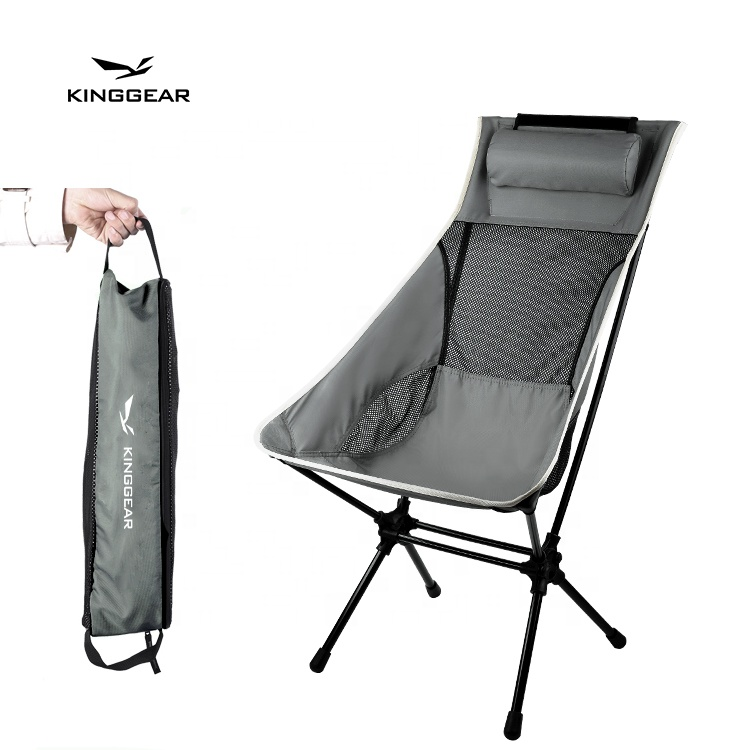 KingGear Outdoor Heavy Duty Portable Aluminum 7075 150kg High back Foldable Folding Backpacking Camping Relax Chair
