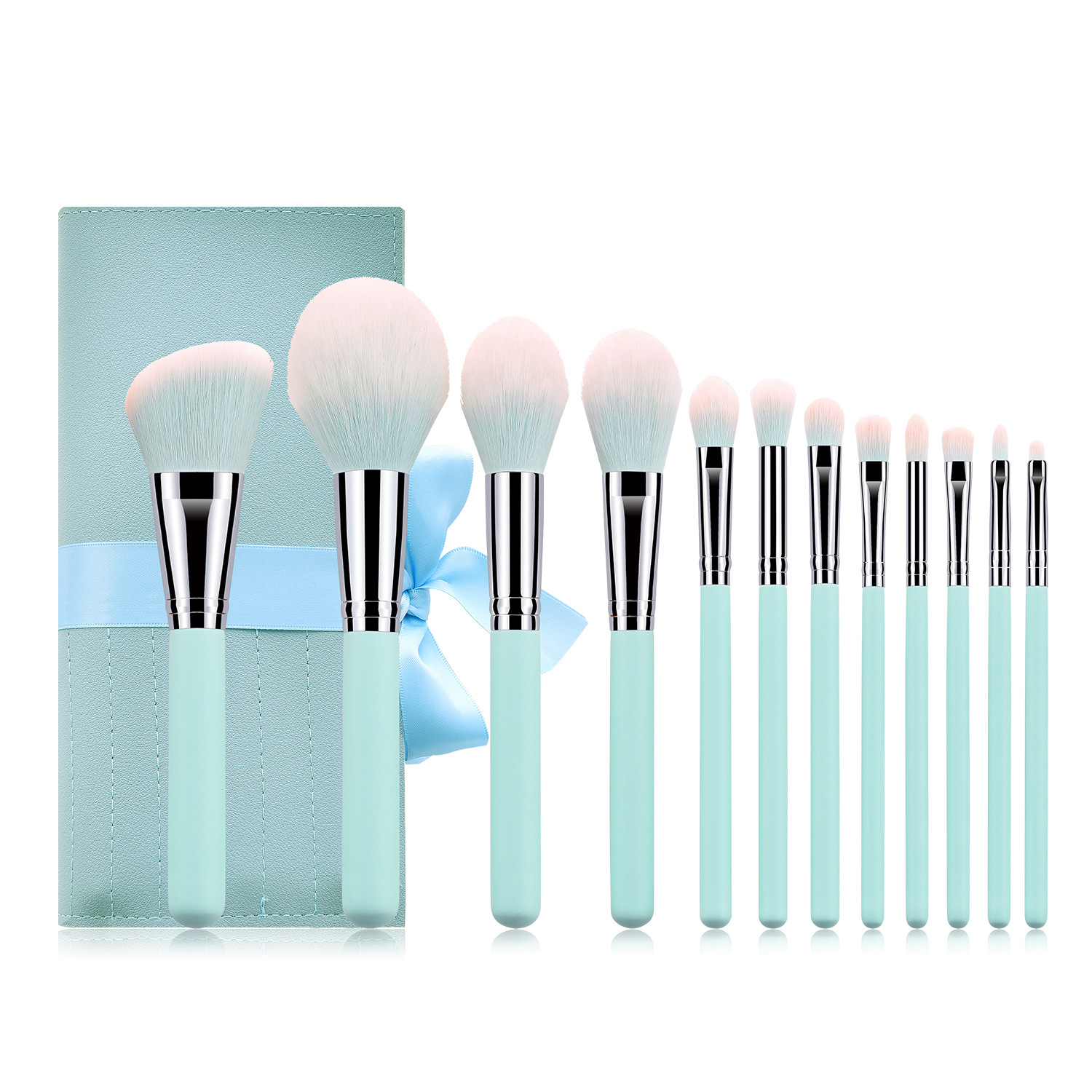 Hot Selling on Amazon 12pcs Makeup Brush Professional Tools Green Private Label Makeup Brushes Set
