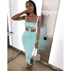 summer 2020 new arrivals trendy women clothing two piece set suit bodycon tops and skirt outfits