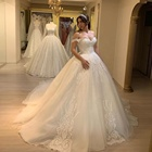2019 New Style Luxury Off Shoulder White Wedding Dress Bride Gown