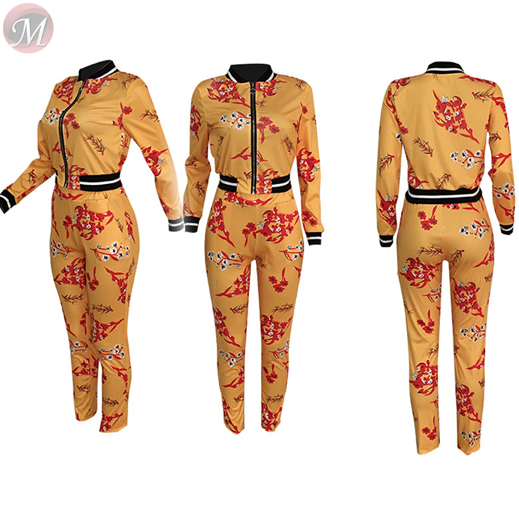 9121812 good quality fashion casual suit long sleeve zipper print tight Outfits Pieces Two Piece Set Women Clothing