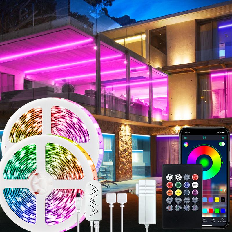 15m/50FT color led light strip with remote rgb led strips bedroom 12v 5050 led tape light ip20 with app 15M music led strip set