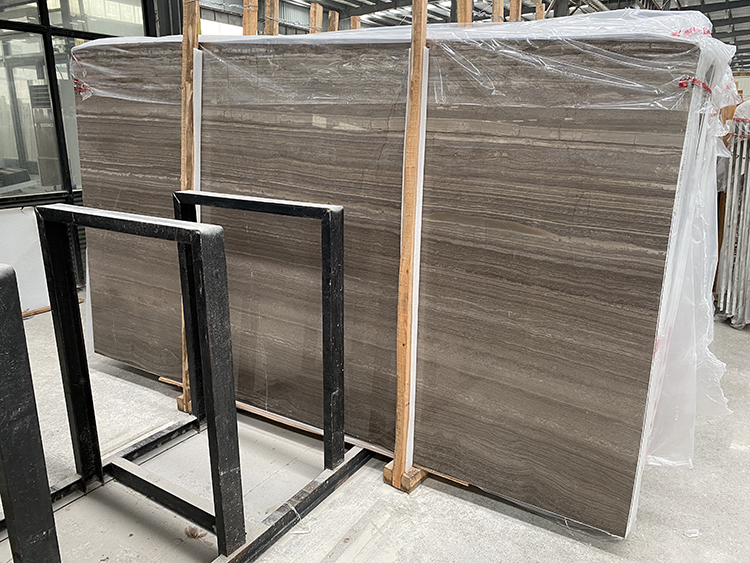 Cafe Wood and Grey Wood Marble Slab For Indoor Decoration