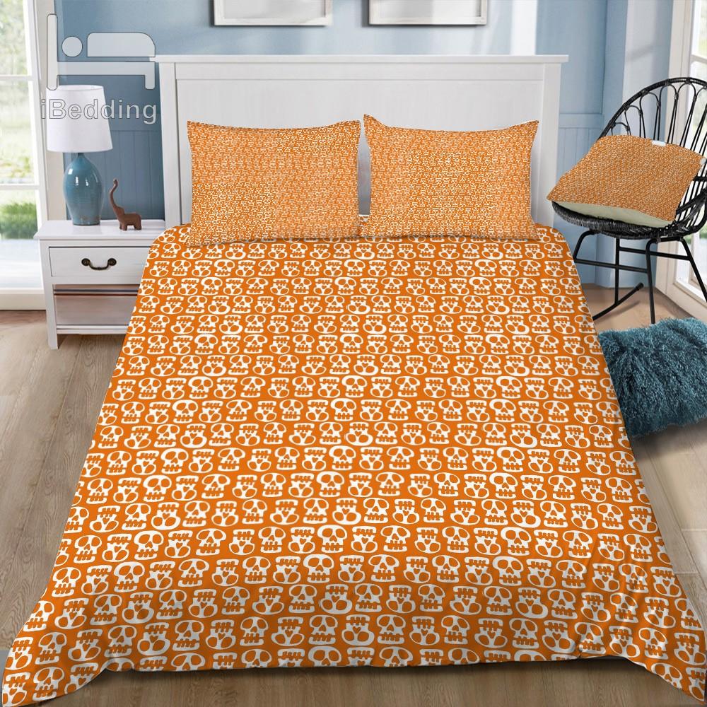 الجماجم البرتقال الفراش مجموعة القطن ملاءات السرير