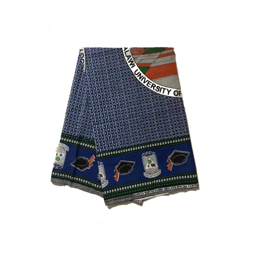 Custom Logo Print Ghana School Uniform Fabrics Wax Prints Polyester