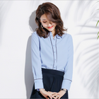 2019 spring new boutique women's clothing/elegant Long sleeve lapel professional office shirts blouses and tops for ladies