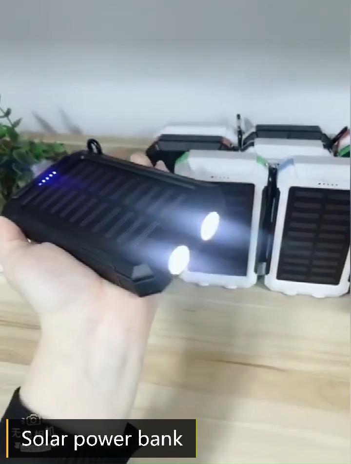 Chargeur de batterie solaire à double USB, capacité 2020 mah, 8000mah, avec éclairage LED, nouveau modèle 10000