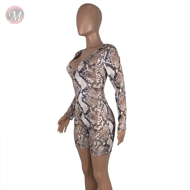 0043018 Summer 2020 Ladies sexy v neck snakeskin print shorts Jump Sui Bodysuits Women One Piece Short Jumpsuits And Rompers