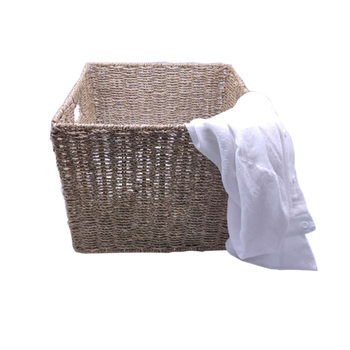 High quality hot sale hand made natural woven straw cloth laundry foldable handle storage seagrass basket with lid