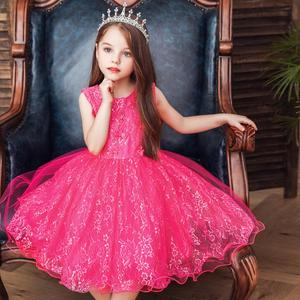 Western style pink girl  bridesmaid dress   lovely  kid  birthday  party dresses  for 6 years old    Princess Lace Evening Dress