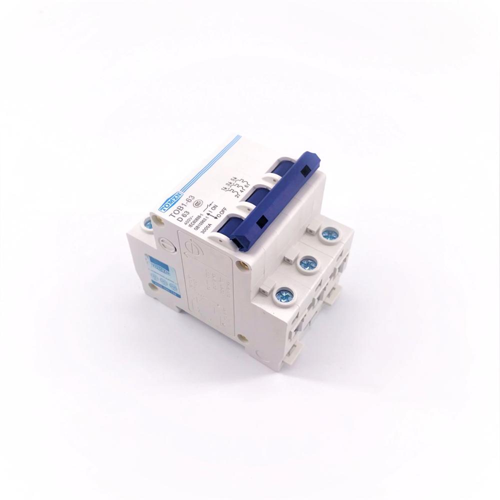 3P 63A D type 240V//415V Circuit breaker MCB 4 POLES