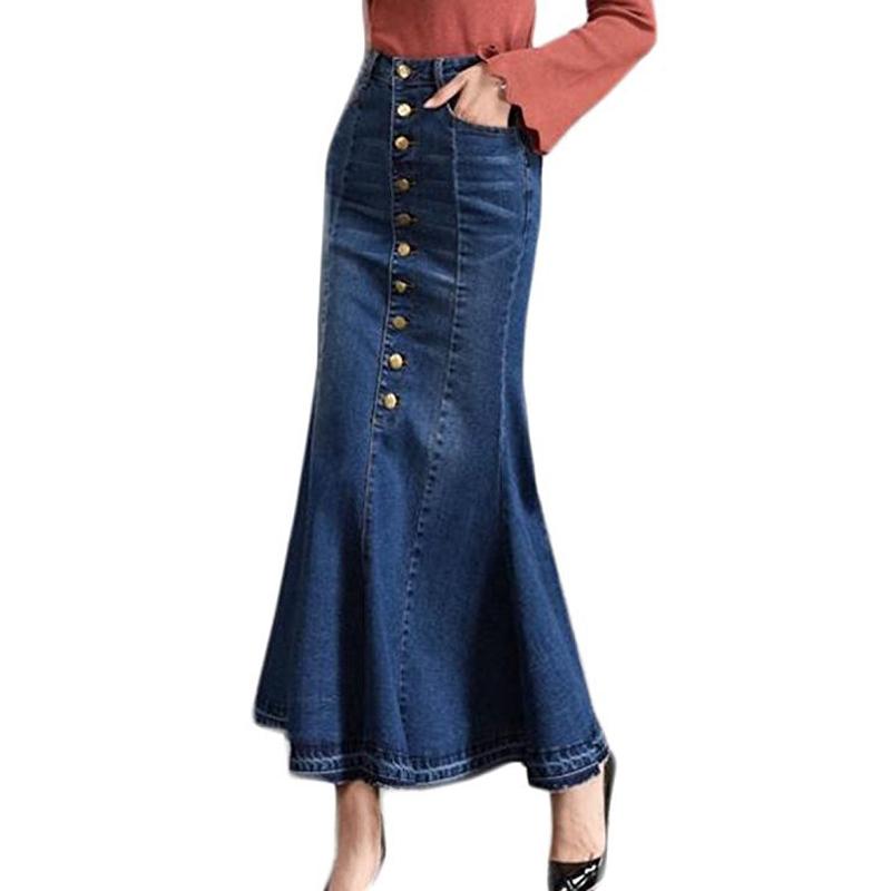 女性のカジュアルフロントボタン洗浄デニムドレスaラインスカートロングジーンズスカート