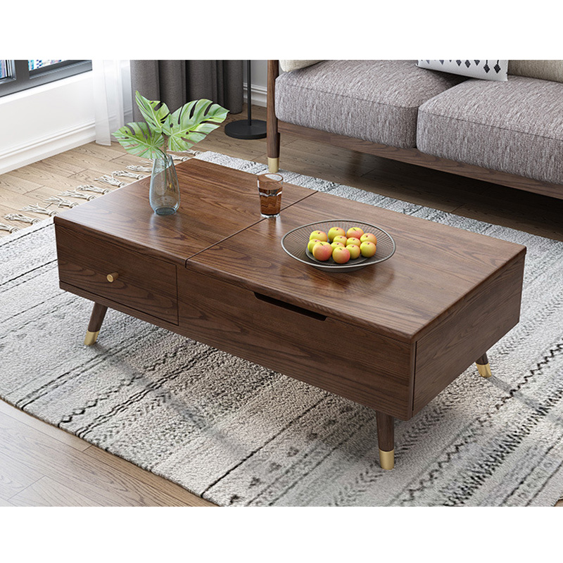 product-BoomDear Wood-Luxury Modern living furniture sets Square soild wooden Elevating tea table wi