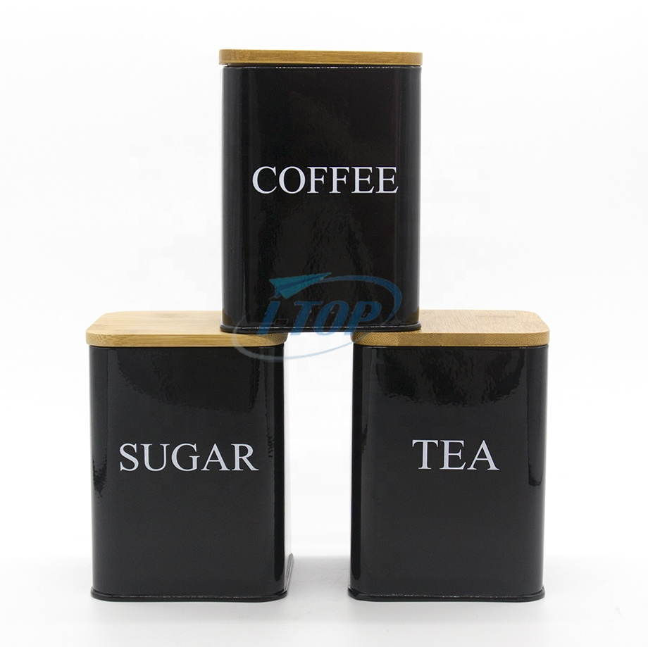 Kitchen Organizers Black 3 piece set Tea Sugar Bamboo Lid Stainless Steel Metal square airtight canister Coffee Tin