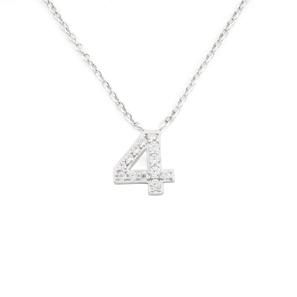 Large Sports Number 4 Rhinestone Pendant Necklace In <strong>Clear</strong> <strong>Crystal</strong>