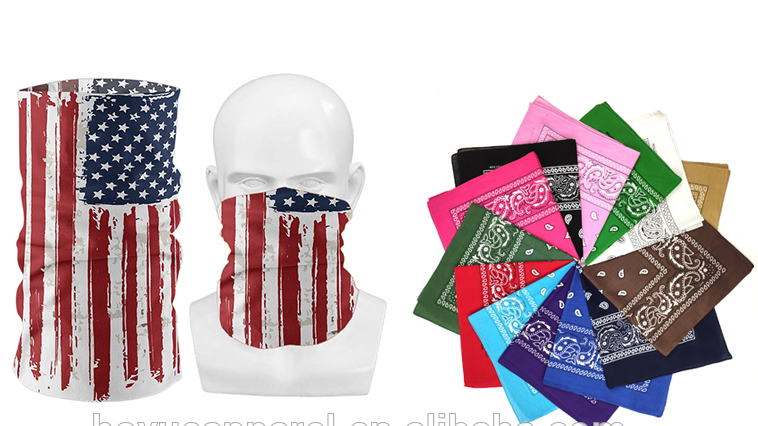 In stock cheap wholesale oem multi colors headwear scarf paisley polyester cotton square custom logo printed bandana