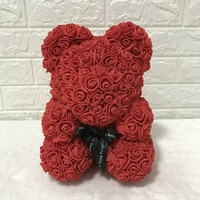 New artificial pe foam eternal rose teddy bear hold preserved rose