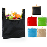 Fashion Foldable Reusable Ripstop Nylon Polyester Shopping Tote Bag Fits in Pocket Eco Friendly Waterproof