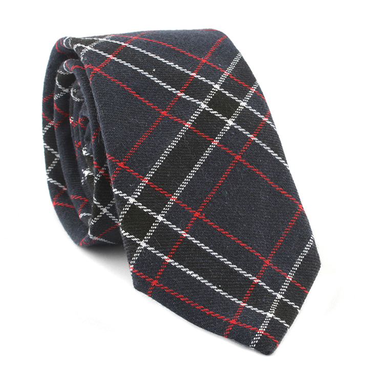 Fashion Woven Jacquard Ties Cotton Mens Checked Pattern Necktie