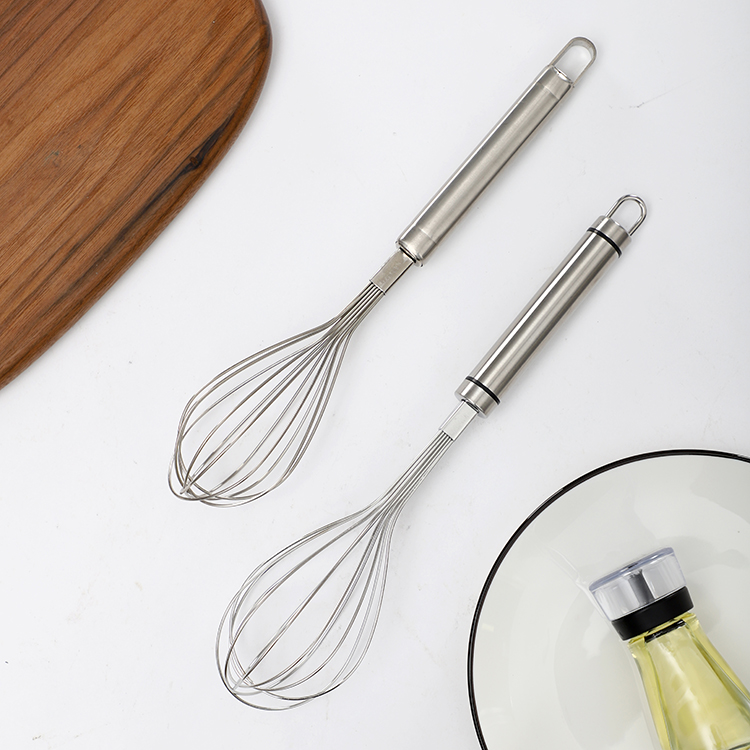 Use friendly kitchen durable egg beater metal stainless steel whisks for blending mixing