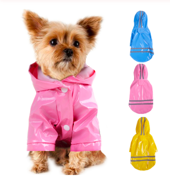 summer outdoor puppy pet black red rain coat S-XL hoody waterproof jackets PU Reflective raincoat for dogs cats apparel clothes