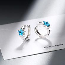 Роскошные корейские серьги-кольца с голубыми кошачьими лапами Huggies, серьги в виде сердца, маленькие круглые мини-обручи с кристаллами, Женск...(Китай)