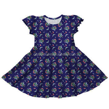 Navy Blue Kids Summer Clothings Short Sleeve New Pattern Frocks Design 2019 Newest Arrival Baby Twirly Dress
