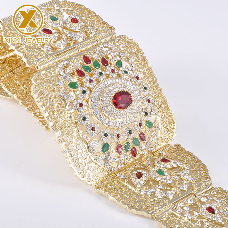 European style exquisite rhinestone gold belt with hollowed-out flower crystal long sleeve belly chain lady metal belt