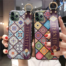 Handgelenk Riemen Soft TPU Cases Für iPhone 11 pro max 6s 7 8 Plus X XR Xs Vintage Gitter, für iphone xr fall strap leder