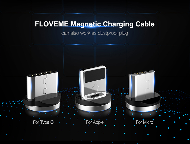 Free Shipping CE ROHS FC Approved FLOVEME Magnetic Charging USB Cable For iphone Micro Type C Mobile Cell Phone Charger Cables