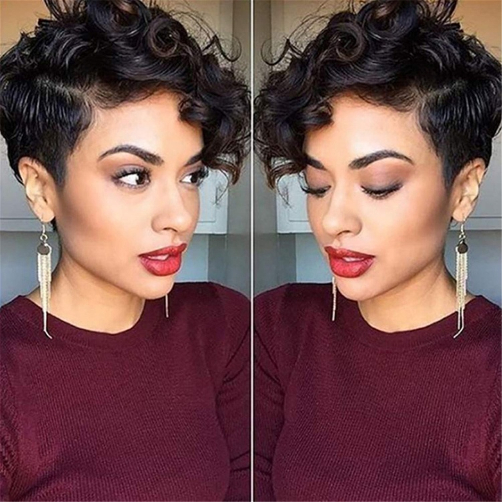12A Unprocessed Invisible Knots Pixie Short Curly Bob Raw Indian Cuticle Aligned Human Hair Lace Front Wigs