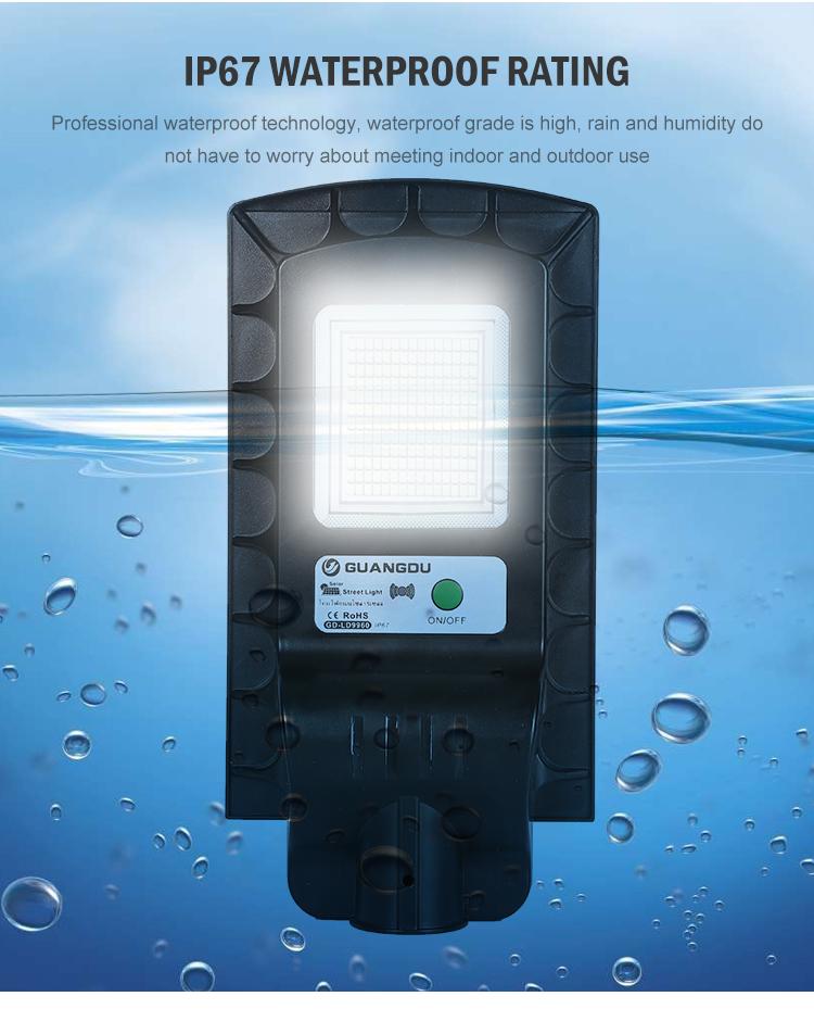 Yüksek güç açık IP67 su geçirmez 50w 100w entegre hepsi bir LED güneş enerjili sokak ışığı