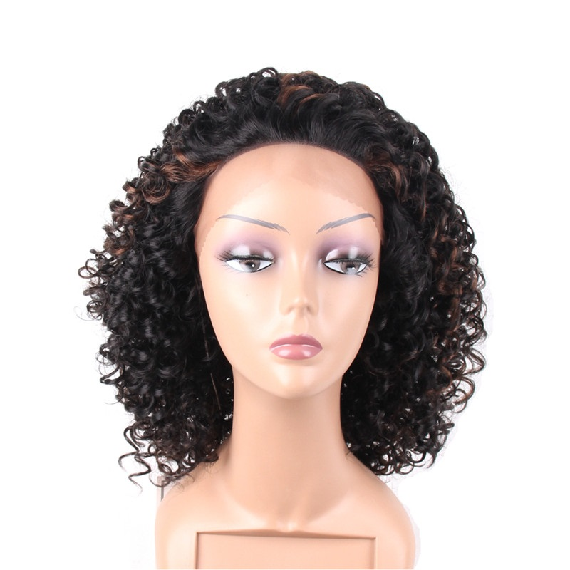 Kinky Curly <strong>Synthetic</strong> <strong>Wig</strong> For Black Women Short <strong>Wigs</strong> High Temperature Fiber black <strong>wigs</strong> Mixed Brown