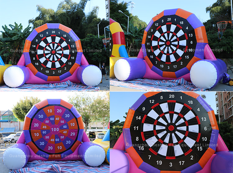 Factory customized purple giant inflatable soccer game dart board for sale