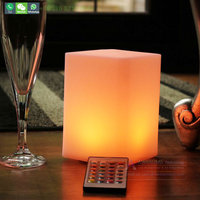 Rechargeable coffee shop led desk small cube lamp battery powered color changing dinner light lamp