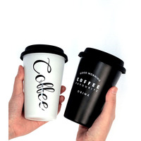 wholesale Coffee Mug with straw Creative Cup for Office Home Travel Student Gift reusable stainless steel coffee cup