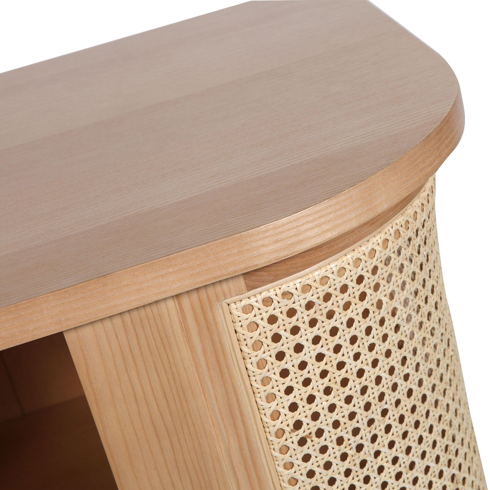 Contemporary Sliding Door Cane Sideboard Console Table Cabinet