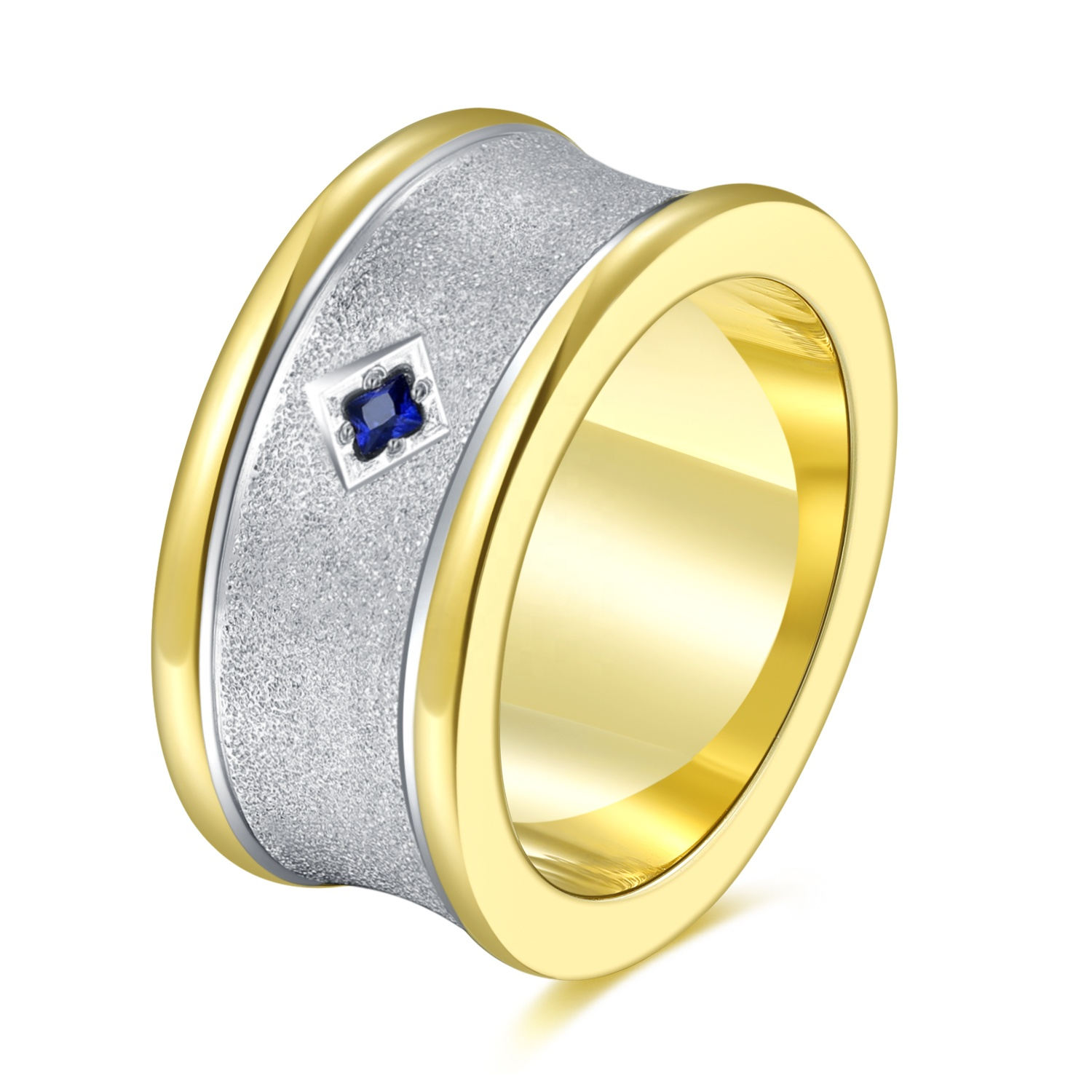 2020 fashion jewelry 14k gold plated ring 316L stainless steel mens ring with blue diamond zircon