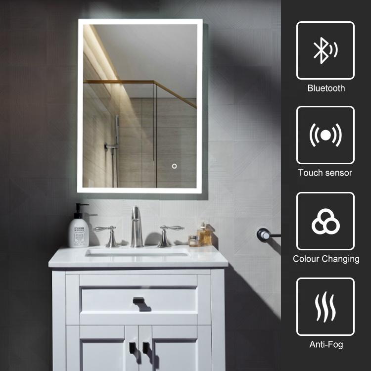 2020 Large Smart Demistable Led Make Up Mirror Light Fog Free Shower Led Mirror Bathroom For Hotel