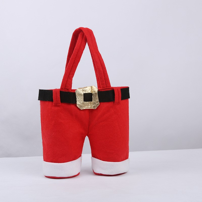 Christmas Gift Candy Wine Bottle Bag Red Santa Claus Suspender Pants Trousers