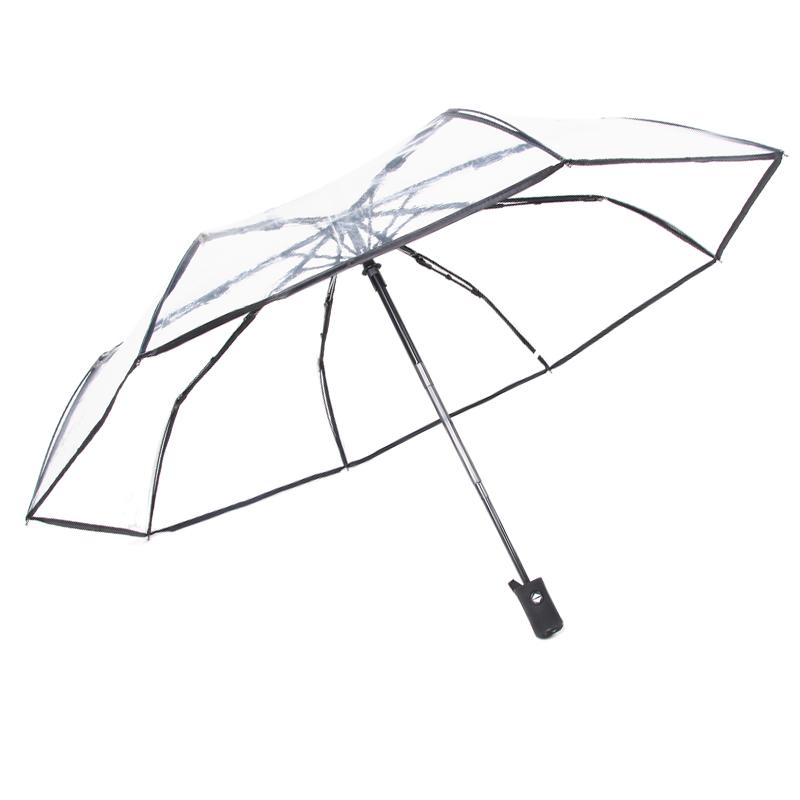 Оптовая продажа на заказ логотип прозрачный зонт 3 складной зонт