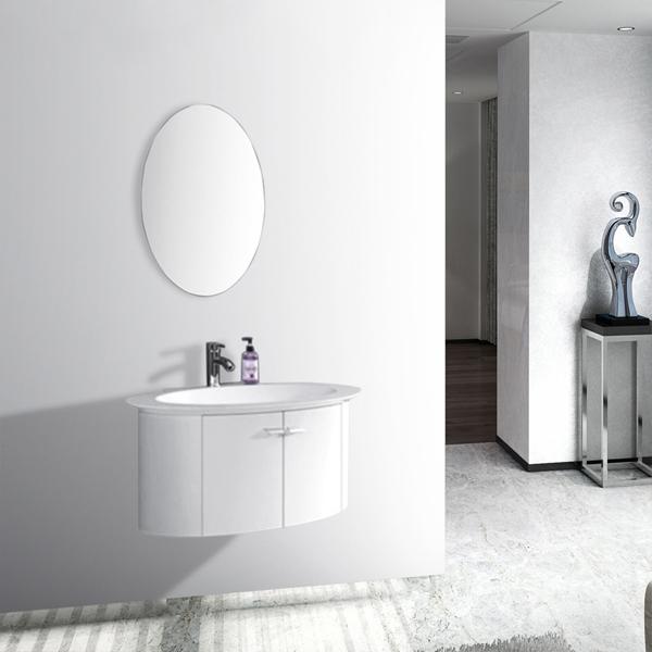 Cute White Oval Bathroom Wall Cabinet