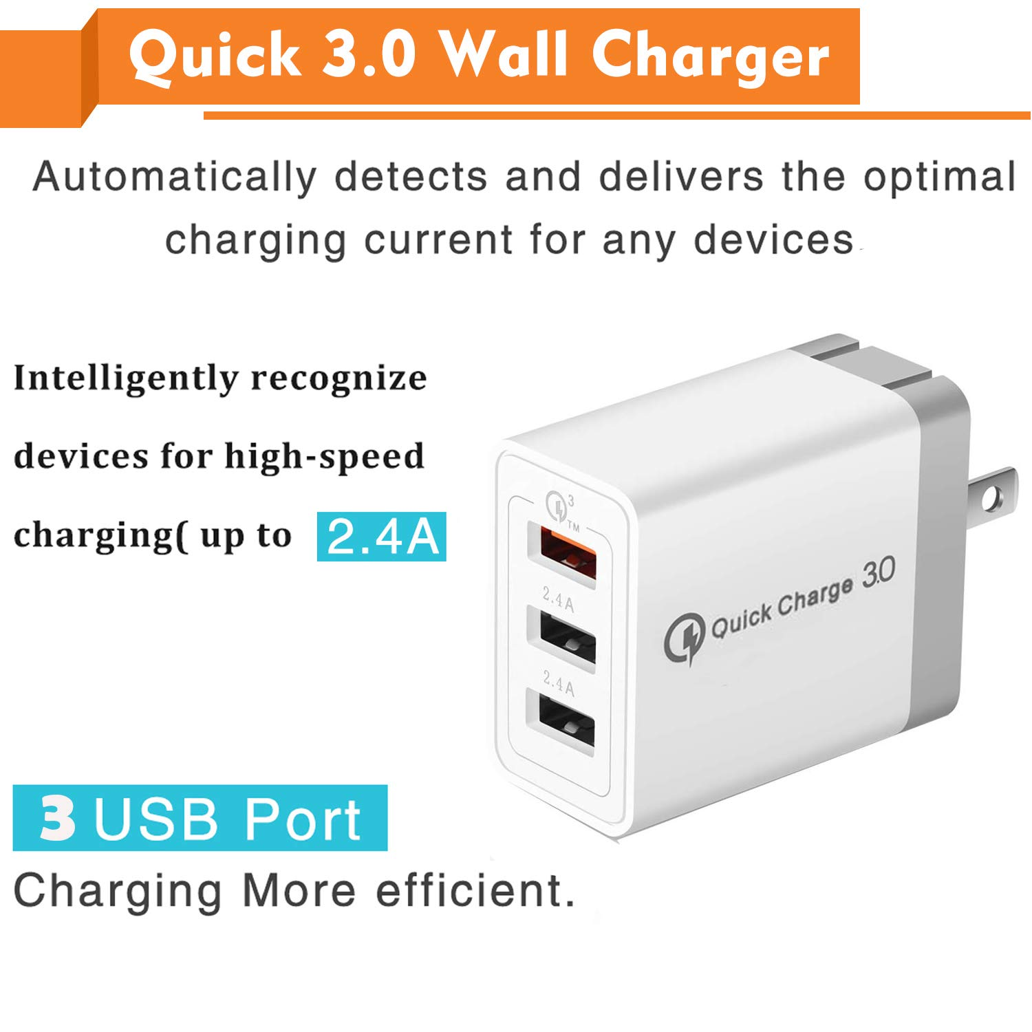 Qc3.0 3 Usb-poort Wall Charger Qc 3.0 Usb Wall Charger Adapter Met Opvouwbare Plug