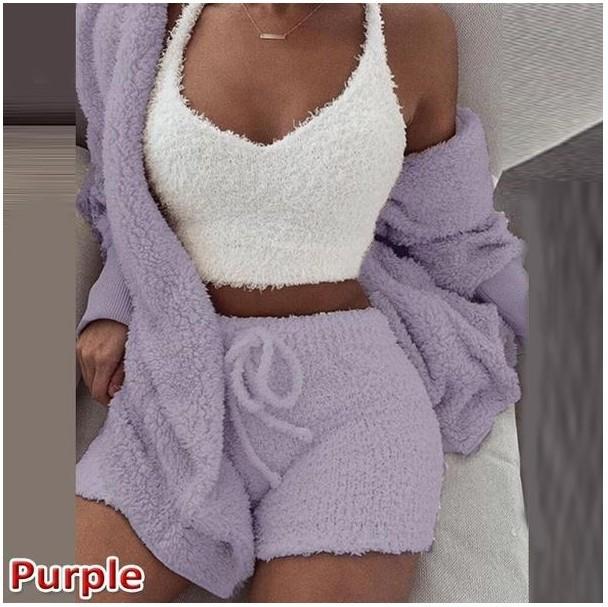 Indumenti da letto delle signore lavorato a maglia 3pc pigiami corti crop set per le donne