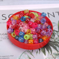 Assorted 9mm x 6mm Transparent Colored Plastic Acrylic Pony Beads