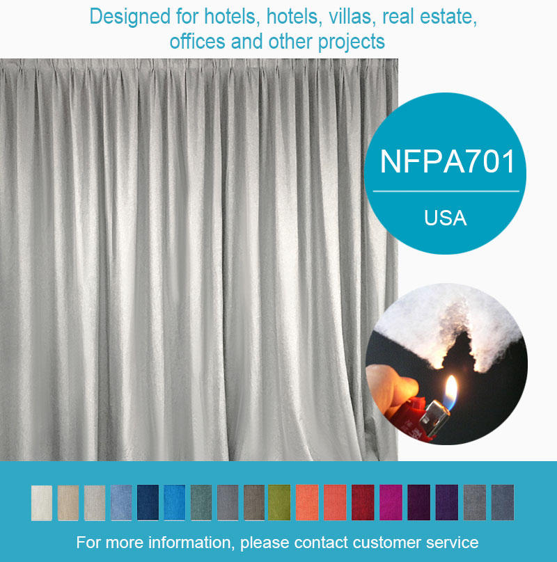 Coated blackout curtains fire retardant hotel curtain
