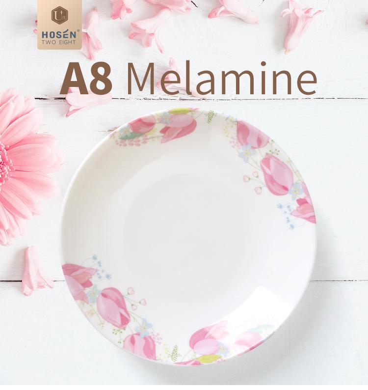 Rosa patrón de melamina de la placa de sopa de Provence jardín plato de sopa profundo 6 7 8 9 pulgadas