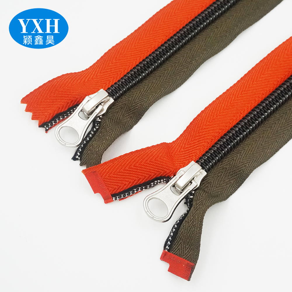 Custom eco-friendly open end two-way sliding long chain nylon teeth zipper