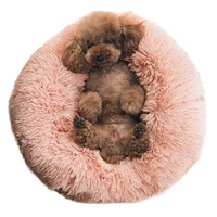 Sleeping Cozy Kitty Teddy Kennel Cat Cushion Bed Pet Beds Cozy Fur Donut Cuddler Dog Bed